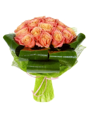 Букет цветов из разноцветных роз №9 (15 шт.) с доставкой.
