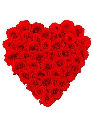 Букет-сердце из красных роз №9 (45 шт.)