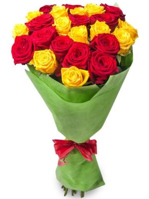Букет цветов из красных и желтых роз №1 (25 шт.) с доставкой.