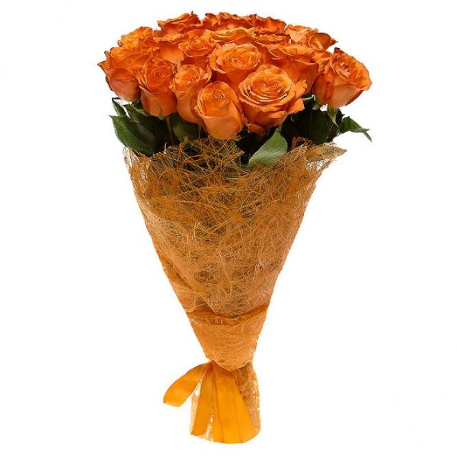 Букет цветов из рыжих роз (21 шт.) №1 с доставкой.