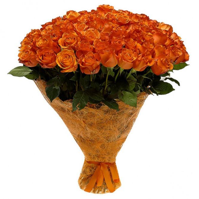 Букет цветов из рыжих роз №3 (101 шт.) с доставкой.