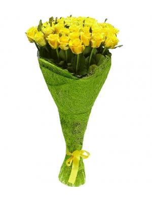 Букет цветов из желтых роз №12 (51 шт.) с доставкой.