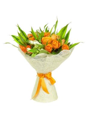 Букет цветов из рыжих роз (25 шт.) и белой альстромерии №11 с доставкой.