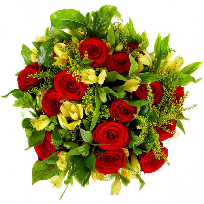 Букет цветов из желтой альстромерии (10 шт.) и красных роз (15 шт.) №9 с доставкой.