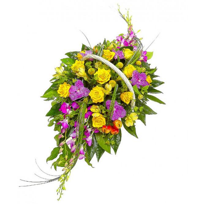 """Букет-корзина из альстромерий, краспедий и роз, а также орхидей """"Дендробиум"""" и """"Ванда"""""""