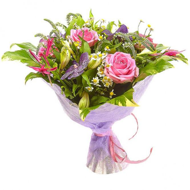 """Букет цветов из белых альстромерии и ромашек, розовых роз и синей орхидеи """"Ванда"""" с доставкой."""
