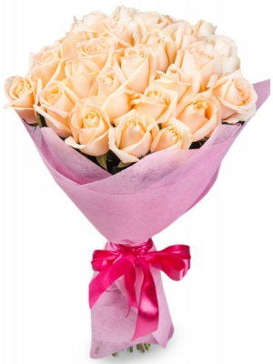 Букет цветов из кремовых роз №1 (25 шт.) с доставкой.