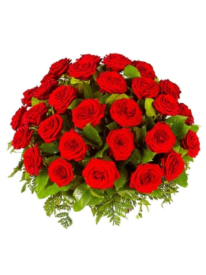Букет-корзина из красных роз и папоротника №12 (51 шт.)