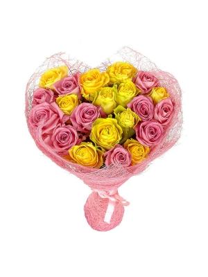 Букет цветов из желтых и розовых роз №23 (21 шт.) с доставкой.