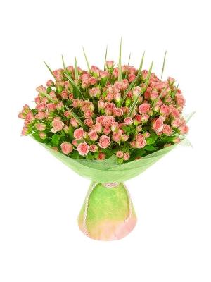 Букет цветов из розовых кустовых роз №22 (51 шт.) с доставкой.