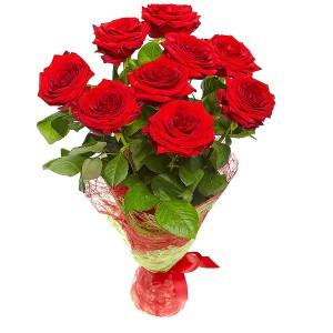 Букет цветов из красных роз №12 (9 шт.) с доставкой.