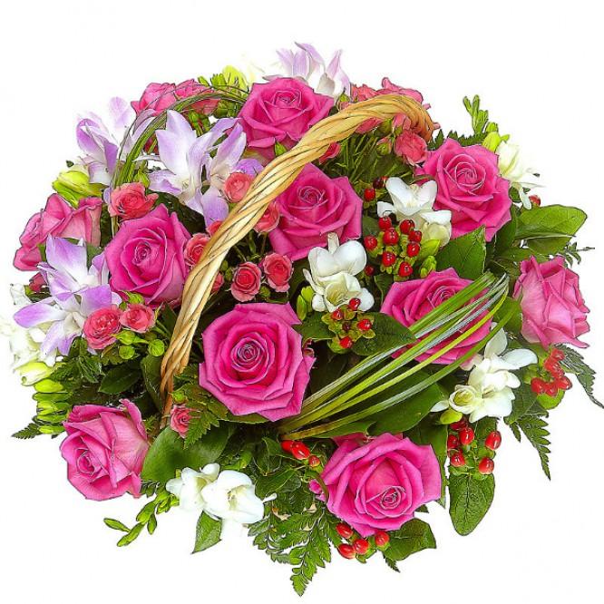 Букет-корзина из розовых роз, белой фрезии и орхидеи дендробиум №14