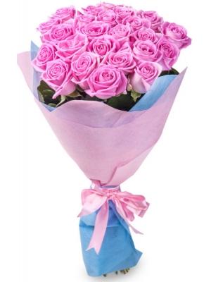 Букет цветов из розовых роз №1 (25 шт.) с доставкой.
