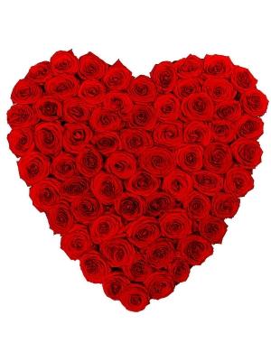 Букет-сердце из красных роз №16 (101 шт.)