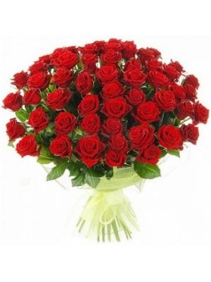 Букет цветов из красных роз №6 (55 шт.) с доставкой.