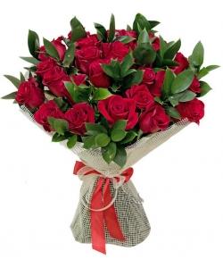 Букет цветов из красных роз №9 (35 шт.) с доставкой.