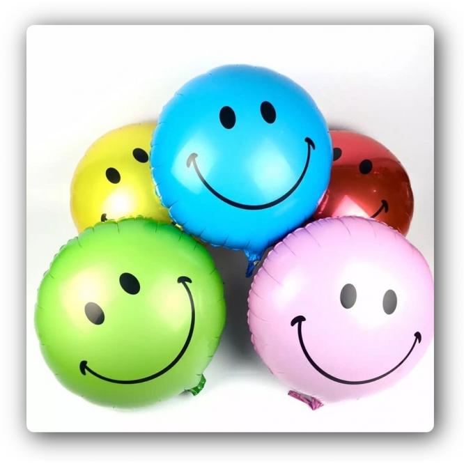Воздушные разноцветные летающие шарики в виде Smiles (фольгированные, 18 дюймов, 5 штук).