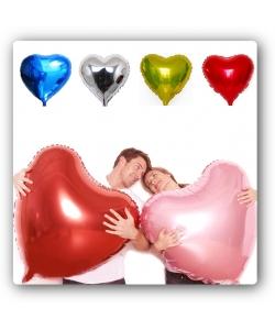 Воздушные разноцветные летающие шары в виде сердец (фольгированные, 75 сантиметров, 2 штуки).