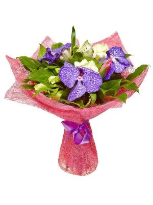 """Букет цветов из розовых тюльпанов, белых альстромерии и фрезии, а также синей орхидеи """"Ванда"""" №10 с доставкой."""
