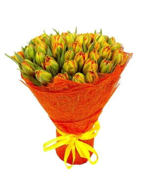 Букет цветов из разноцветных тюльпанов (51 шт.) №12 с доставкой.
