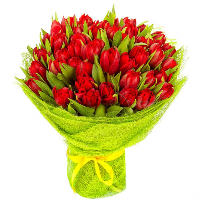 Букет цветов из красных тюльпанов (51 шт.) №13 с доставкой.