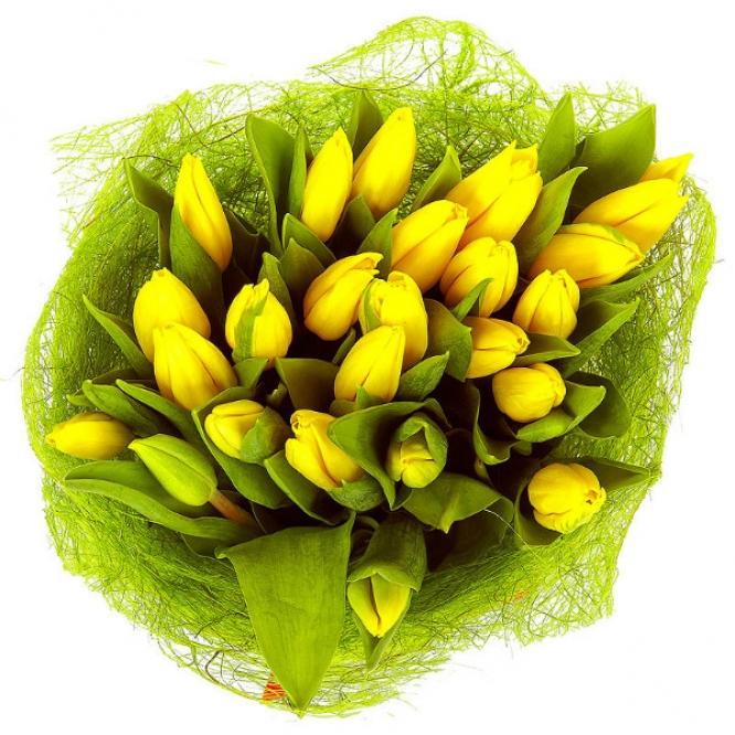 Букет цветов из желтых тюльпанов (25 шт.) №15 с доставкой.