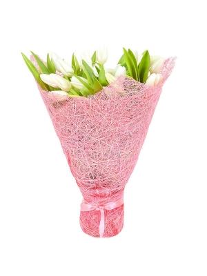 Букет цветов из белых тюльпанов (25 шт.) №16 с доставкой.