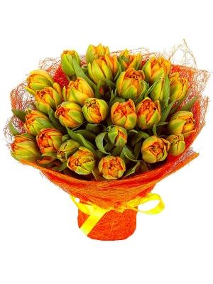Букет цветов из разноцветных тюльпанов (25 шт.) №2 с доставкой.