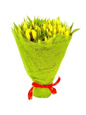 Букет цветов из желтых тюльпанов (51 шт.) №22 с доставкой.