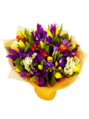Букет цветов из рыжей альстромерии, желтых тюльпанов, синих ирисов, а также фрезии и салала №23 с доставкой.