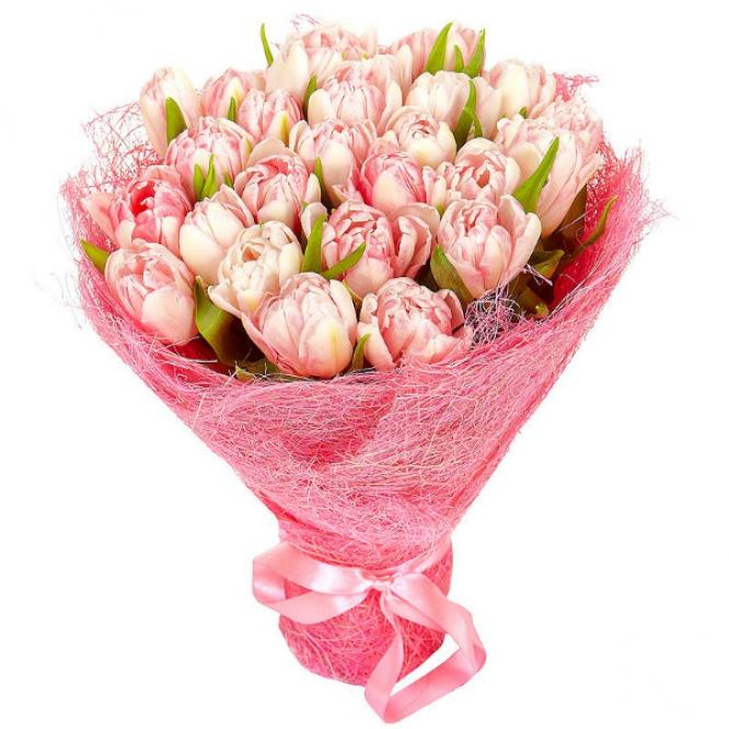 Букет цветов из светло-розовых тюльпанов (25 шт.) №24 с доставкой.