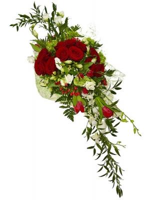 """Букет цветов из белых тюльпанов, красных роз, белой альстромерии, а также белой орхидеи """"Дендробиум"""" №28 с доставкой."""