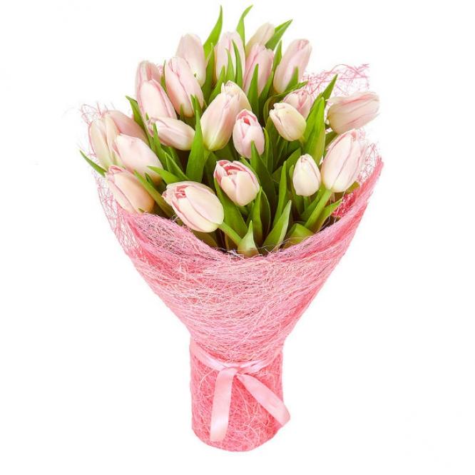 Букет цветов из розовых тюльпанов (25 шт.) №3 с доставкой.