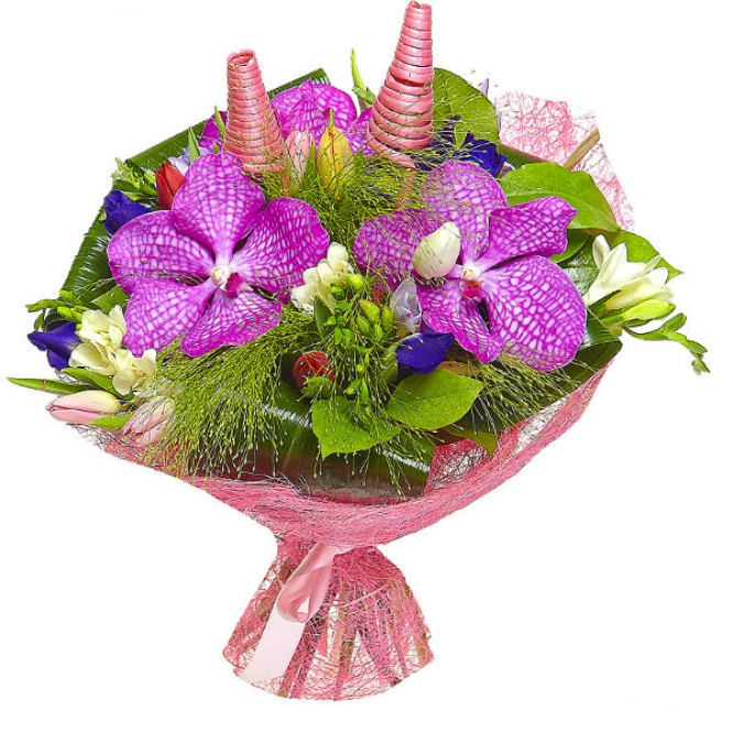 """Букет цветов из разноцветных тюльпанов, синих ирисов, фрезии и синей орхидеи """"Ванда"""" №36 с доставкой."""
