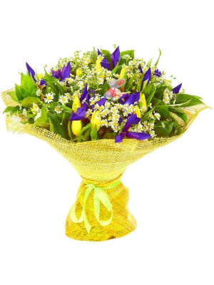 Букет цветов из желтых тюльпанов, синих ирисов, салала и ромашек №46 с доставкой.