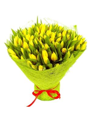 Букет цветов из желтых тюльпанов (101 шт.) №50 с доставкой.