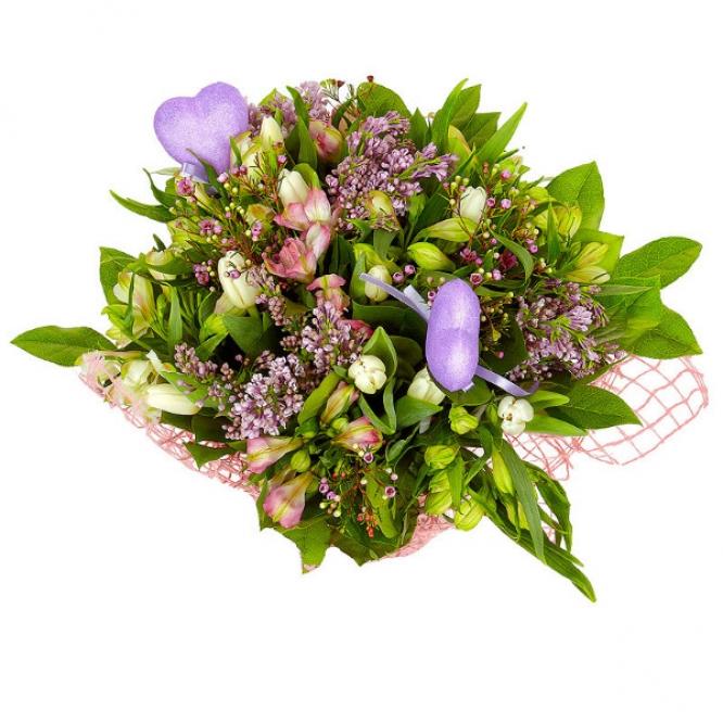 Букет цветов из белой и розовой альстромерии, салала, вакс и белых тюльпанов №59 с доставкой.