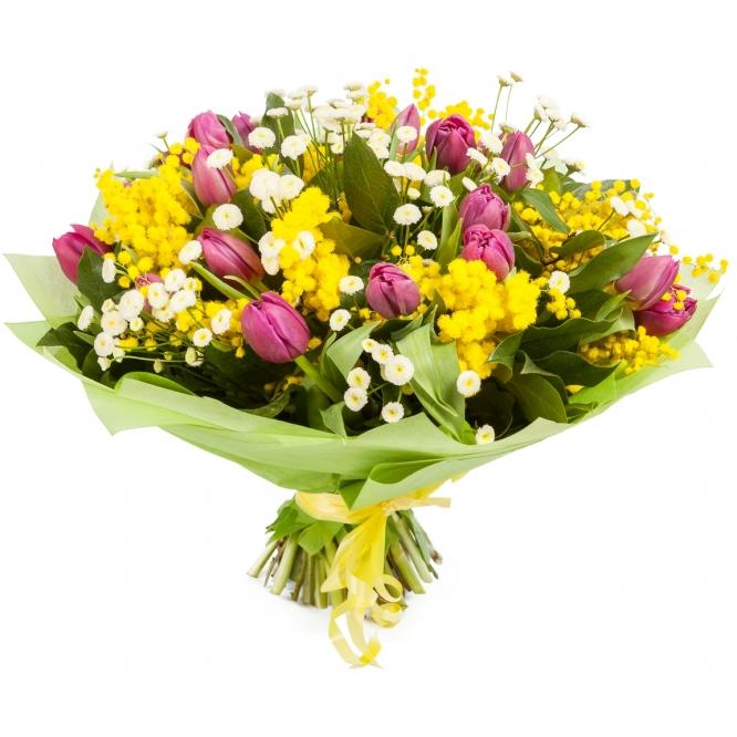 Букет цветов из темно-бордовых тюльпанов, мимозы, салала и танацетума №68 с доставкой.
