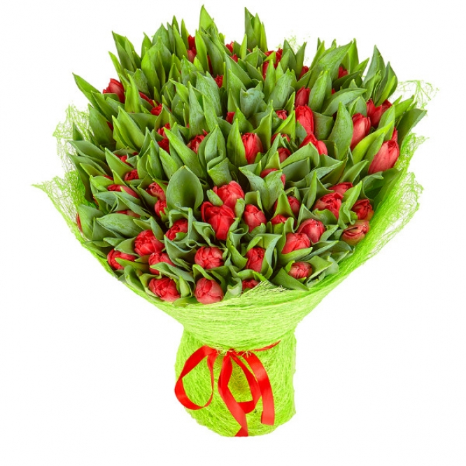 Букет цветов из красных тюльпанов (101 шт.) №8 с доставкой.