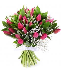 Букет цветов из розовых тюльпанов (35 шт.), гипсофилы и рускуса №75 с доставкой.